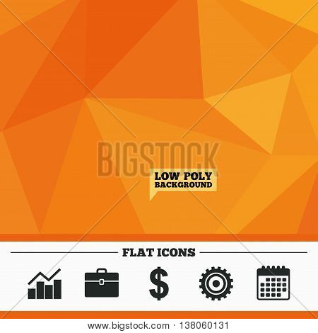 Triangular low poly orange background. Business icons. Graph chart and case signs. Dollar currency and gear cogwheel symbols. Calendar flat icon. Vector