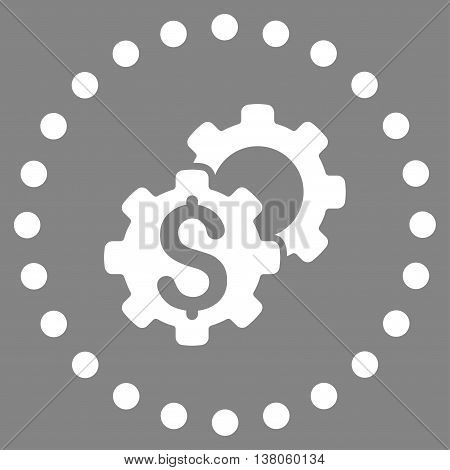 Bank Options vector icon. Style is flat circled symbol, white color, rounded angles, gray background.