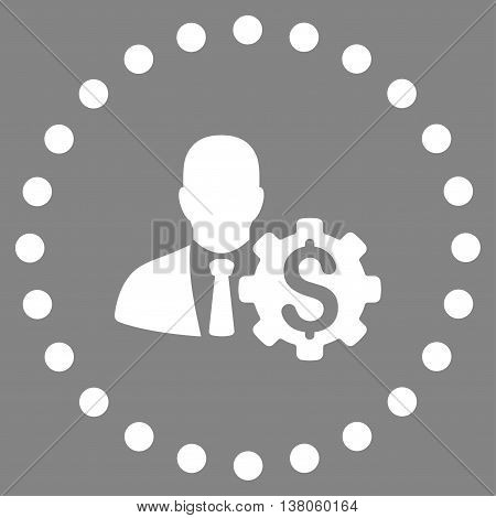 Banker Options vector icon. Style is flat circled symbol, white color, rounded angles, gray background.