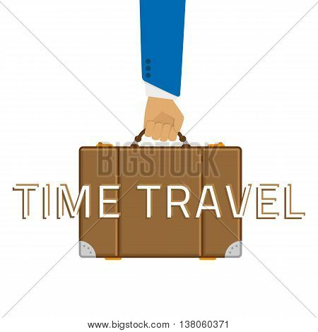 Vector illustration of a suitcase in a man hand. Illustration voyages in a flat style. Brown luggage in the man hand.