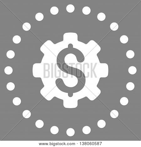 Dollar Options vector icon. Style is flat circled symbol, white color, rounded angles, gray background.