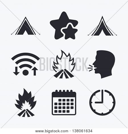 Tourist camping tent icons. Fire flame sign symbols. Wifi internet, favorite stars, calendar and clock. Talking head. Vector