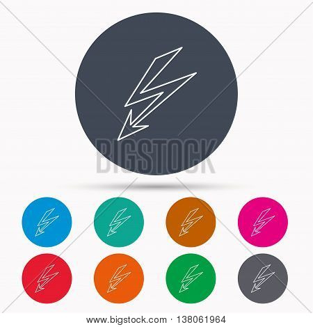 Lightening bolt icon. Power supply sign. Electricity symbol. Icons in colour circle buttons. Vector
