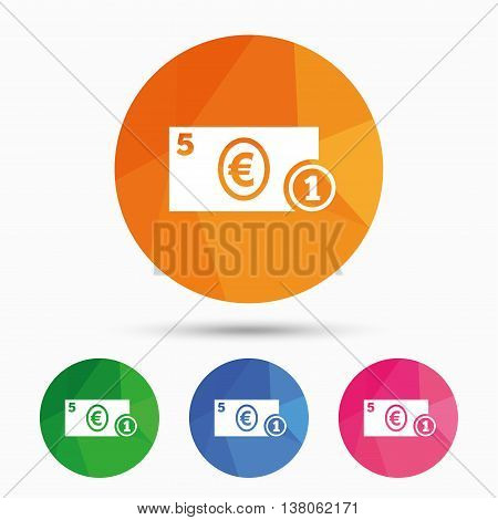 Cash sign icon. Euro Money symbol. EUR Coin and paper money. Triangular low poly button with flat icon. Vector