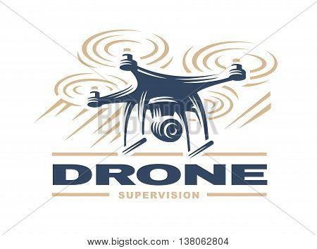 Drone logo design, emblem on a white background