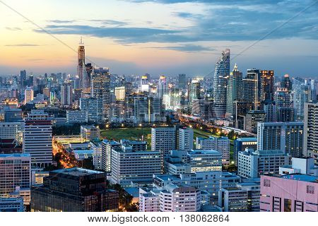 Bangkok urban skyline with skyscraper building in center business district in BangkokThailand