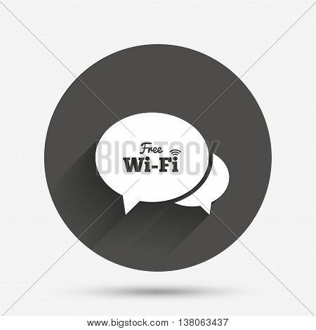 Chat speech bubbles. Free wifi sign. Wifi symbol. Wireless Network icon. Wifi zone. Circle flat button with shadow. Vector