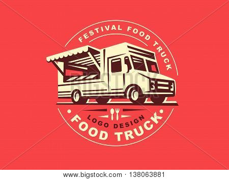 Round logo of food truck, the logos have a retro look