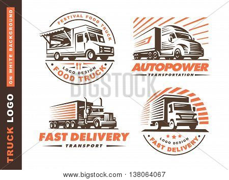 set of four logo with truck and trailer on white background