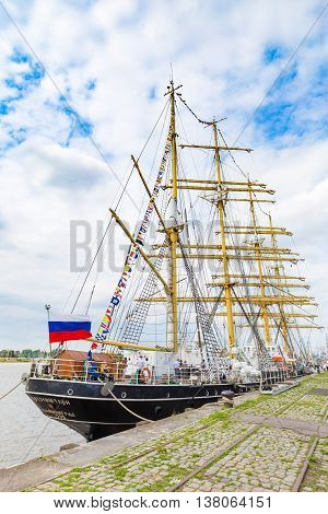 Russian sailing ship Kruzenstern (four-masted barque and tall ship that was built in 1926) seen in Antwerp during the Tall Ships Races 2016 event