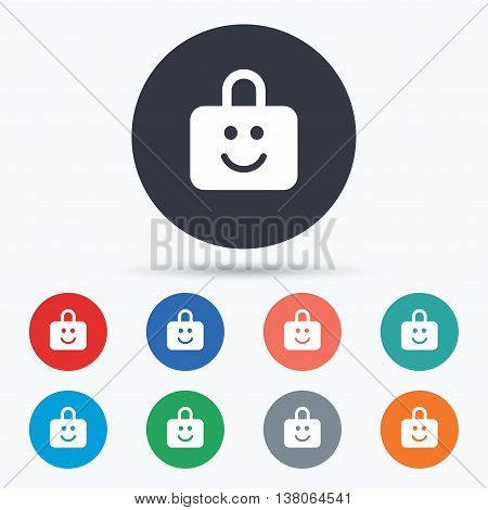 Child lock icon. Locker with smile symbol. Child protection. Circle buttons with icons. Vector