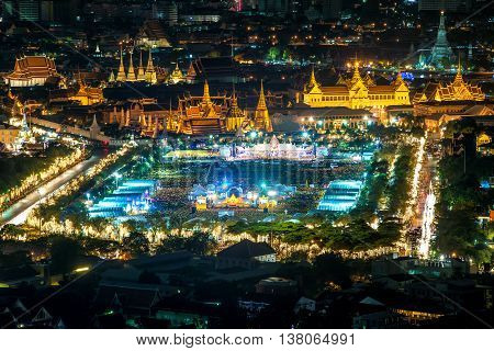 Aerial view of Wat Phra Kaew in night Bangkok Thailand. Bangkok urban skyline.