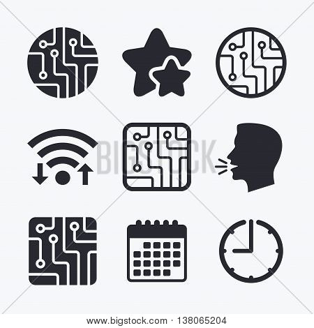 Circuit board icons. Technology scheme circles and squares sign symbols. Wifi internet, favorite stars, calendar and clock. Talking head. Vector