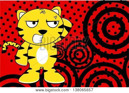 furious young tiger plush cartoon background in vector format very easy to edit