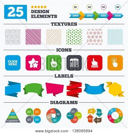 Offer sale tags, textures and charts. Click here icons. Hand cursor signs. Press here symbols. Sale price tags. Vector