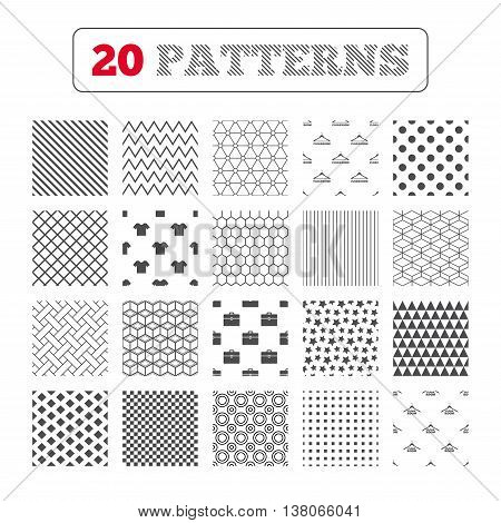 Ornament patterns, diagonal stripes and stars. Cloakroom icons. Hanger wardrobe signs. T-shirt clothes and baggage symbols. Geometric textures. Vector