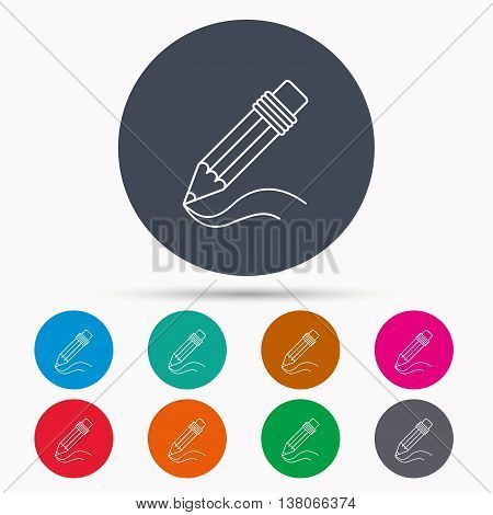 Pencil icon. Drawing tool sign. Study equipment. Icons in colour circle buttons. Vector