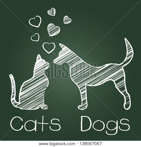 Cats Dogs Love Shows Compassion Puppy And Kitty