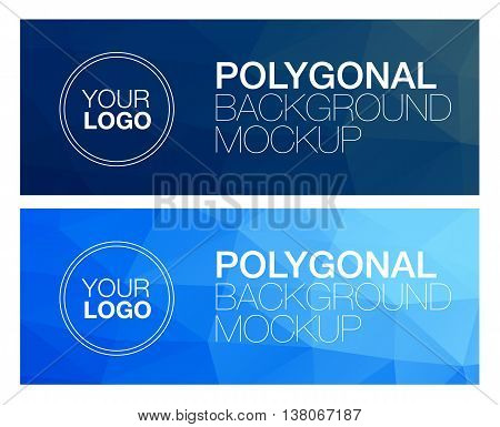 Horizontal colorful vibrant modern blue polygonal banner mock ups