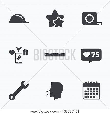 Construction helmet and wrench key tool icons. Ruler and tape measure roulette sign symbols. Flat talking head, calendar icons. Stars, like counter icons. Vector