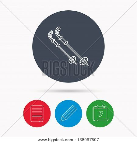 Skiing icon. Ski sticks or poles sign. Winter sport symbol. Calendar, pencil or edit and document file signs. Vector