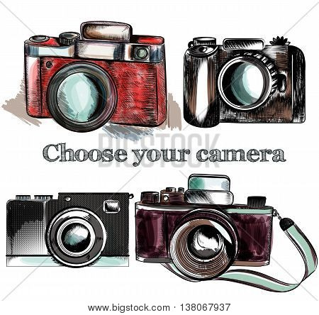 A collection of vector hand drawn camera in retro style