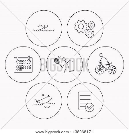 Swimming, tennis and biking icons. Boating linear sign. Check file, calendar and cogwheel icons. Vector