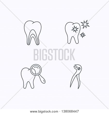 Healthy teeth, dentinal tubules and pliers icons. Dental diagnostics linear sign. Flat linear icons on white background. Vector