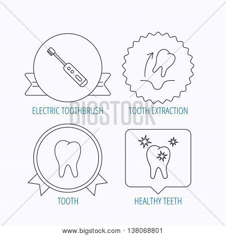 Tooth extraction, electric toothbrush icons. Healthy teeth linear sign. Award medal, star label and speech bubble designs. Vector