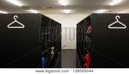 Cloak room of Tate modern with objects for safe keeping