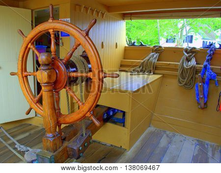 Vintage Steering from 18th century ship Wheel Charles W Morgan