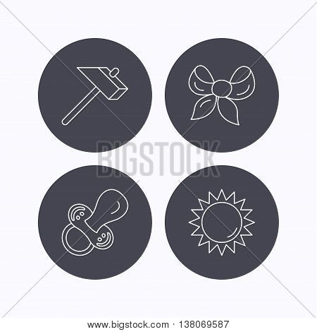 Hammer, pacifier and sun icons. Bow-knot linear sign. Flat icons in circle buttons on white background. Vector
