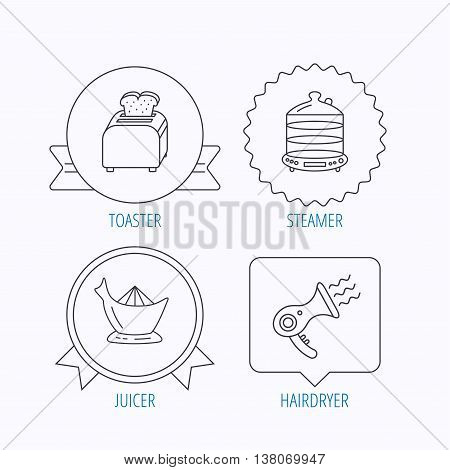 Steamer, hairdryer and toaster icons. Juicer linear signs. Award medal, star label and speech bubble designs. Vector