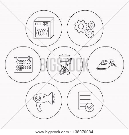 Dishwasher, hairdryer and mixer icons. Iron linear sign. Check file, calendar and cogwheel icons. Vector