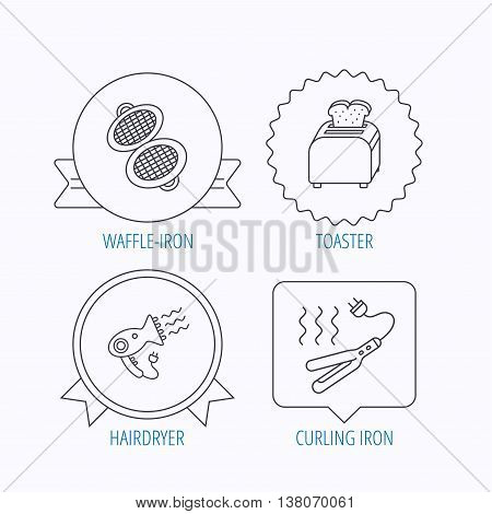 Curling iron, hair-dryer and toaster icons. Waffle-iron linear sign. Award medal, star label and speech bubble designs. Vector