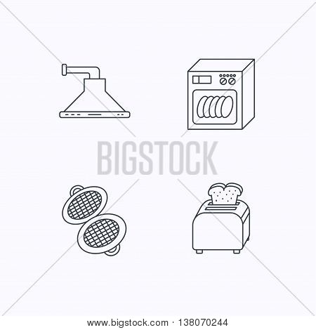 Dishwasher, waffle-iron and toaster icons. Kitchen hood linear sign. Flat linear icons on white background. Vector