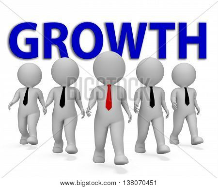 Growth Businessmen Shows Executive Entrepreneurial And Gain 3D Rendering