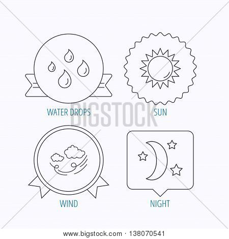 Weather, sun and wind icons. Moon night linear sign. Award medal, star label and speech bubble designs. Vector