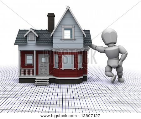 3D render of a man leaning on a traditional timber house