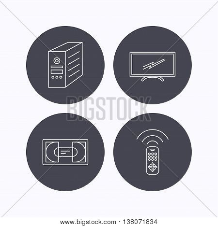 TV remote, VHS cassette and PC case icons. Widescreen TV linear sign. Flat icons in circle buttons on white background. Vector