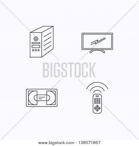 TV remote, VHS cassette and PC case icons. Widescreen TV linear sign. Flat linear icons on white background. Vector