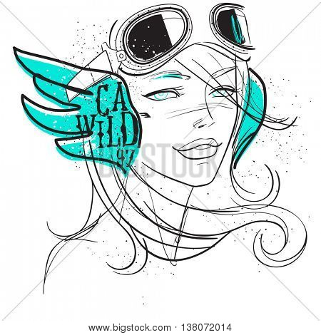 Girl with pilot glasses Fancy typographic print