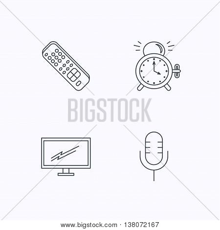 Microphone, alarm clock and TV remote icons. Widescreen TV linear sign. Flat linear icons on white background. Vector