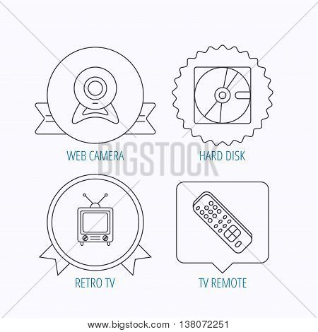 Web camera, retro TV and hard disk icons. TV remote linear sign. Award medal, star label and speech bubble designs. Vector