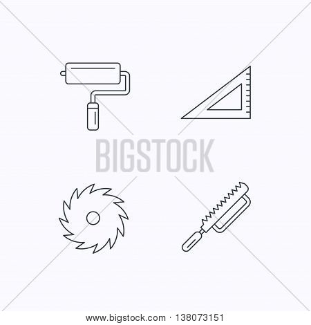 Triangular rule, paint roller and fretsaw icons. Circular saw linear sign. Flat linear icons on white background. Vector