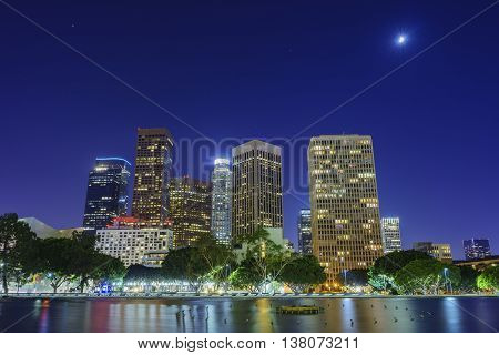 Los Angeles Downtown And Reflection
