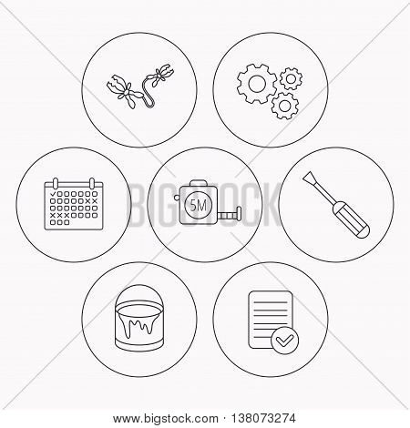 Screwdriver, battery terminal and tape measure icons. Bucket of paint linear sign. Check file, calendar and cogwheel icons. Vector