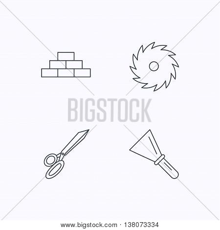 Wall, spatula and scissors icons. Circular saw linear sign. Flat linear icons on white background. Vector