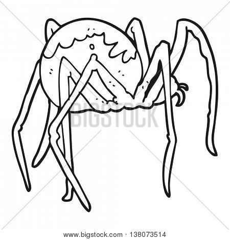 freehand drawn black and white cartoon creepy spider poster