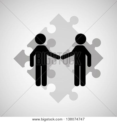 two men shaking hand, networking and teamwork cooperation icon, vector illustration